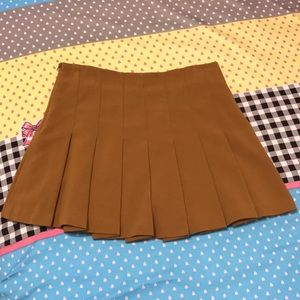 F21 Mustard Pleated Skirt